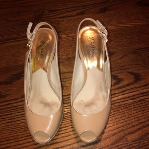 Michael Kors Nude Patent Leather Open-toe Wedges
